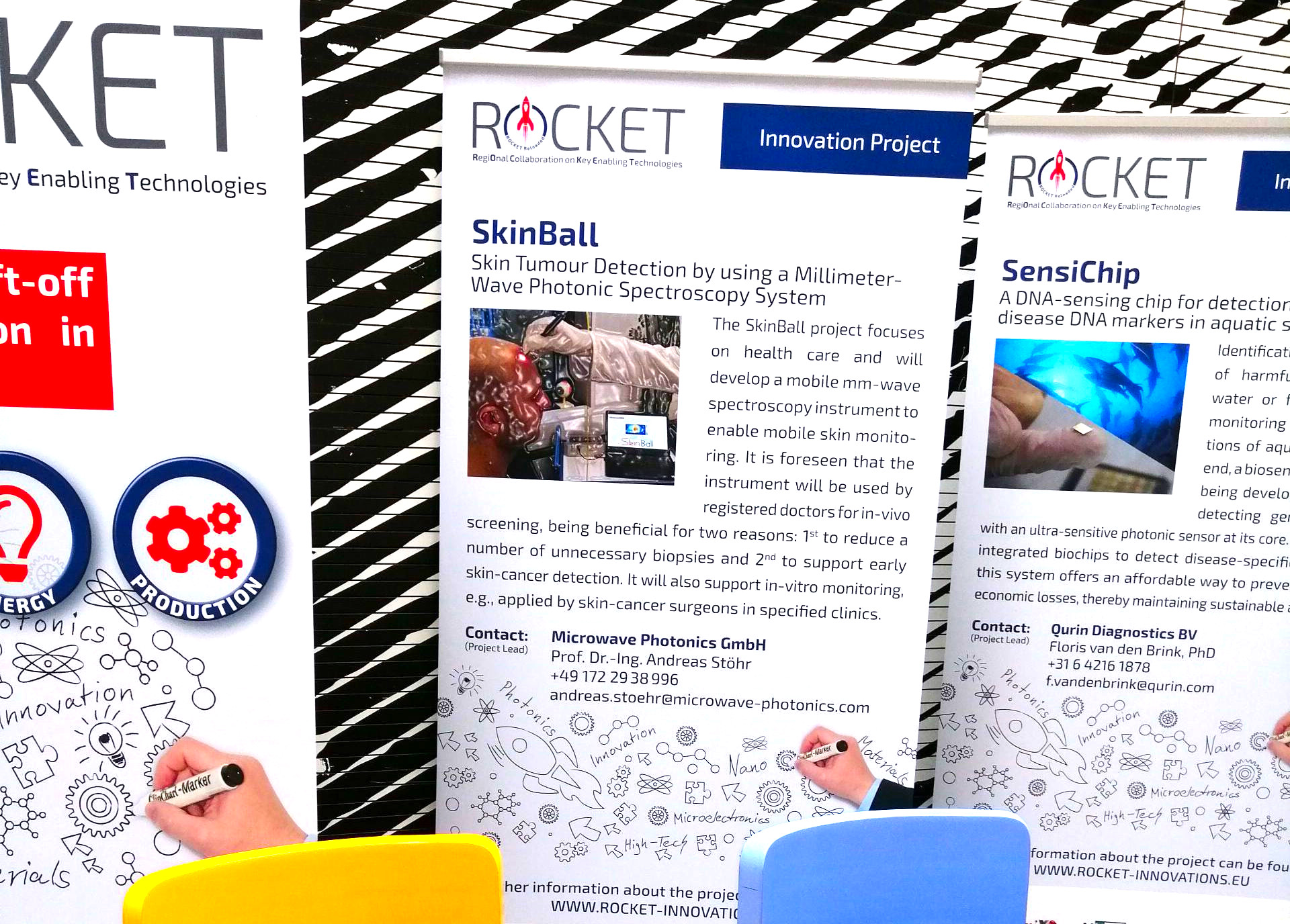 Project exhibition and SkinBall booth at the ROCKET event in Ulft, the Netherlands.